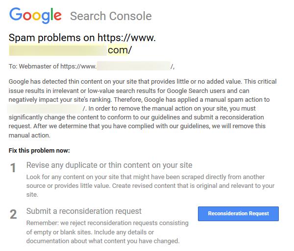 exemple email pénalité google