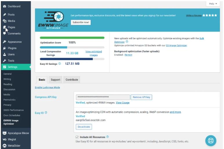 EWWW IO métrique d'optimisation d'image - code promo - bon de réduction - licence à vie